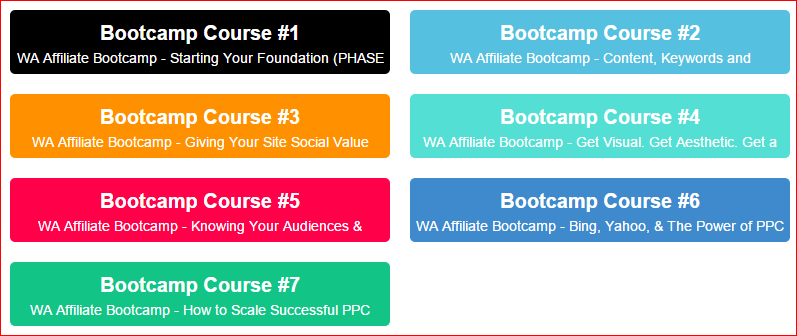 Wealthy Affiliate Bootcamp Courses