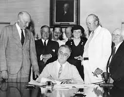 FDR signing Social Security Act